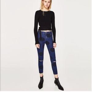 NWT Zara High Waist Distress Polka Dot Capri Jean